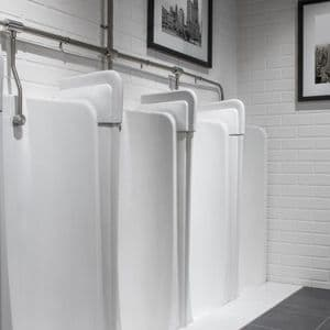 Healey & Lord Niagara Traditional Slab Ceramic Urinal Fused Run with Exposed Cistern Flush Kit